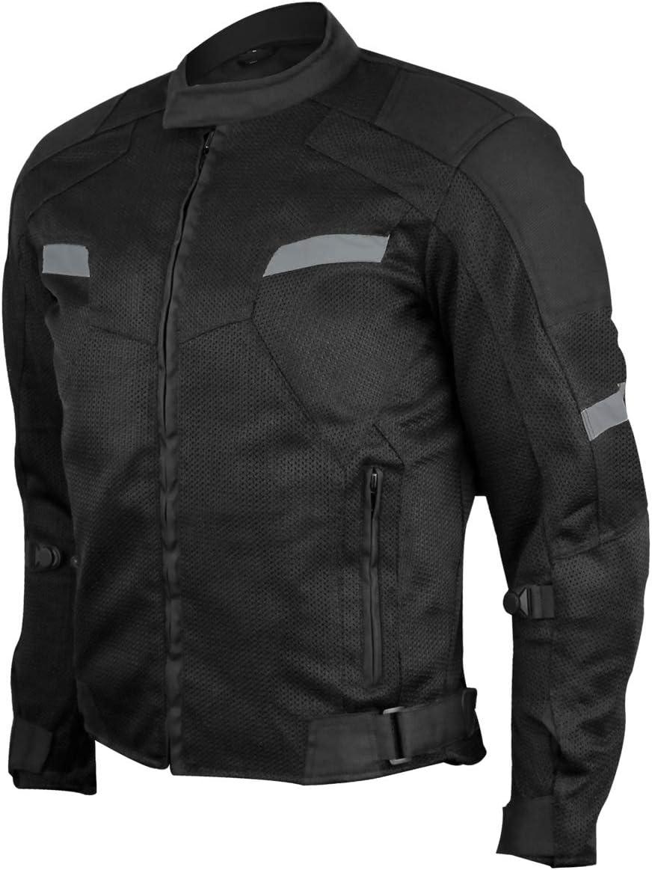 Vance Advance Lightweight Mens All Weather Season CE Armor Mesh Motorcycle Jacket (Black, 2XL)