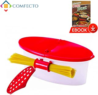 Microwave Pasta Cooker with Strainer, Food Grade Heat Resistant Pasta Boat Vegetable Steamer Spaghetti Noodle Cooker with Capacity Up to 5 Pound, No Mess, Sticking, or Waiting for Water to Boil