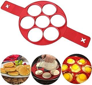 Silikon pannkaka formar med 7 hål, rund form pannkakor ägg omelett fixator för att spara matlagning, äggtillverkare form b...
