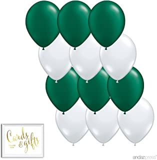 Andaz Press 11-inch Latex Balloon Duo Party Kit with Gold Cards & Gifts Sign, Emerald Green and White, 12-pk