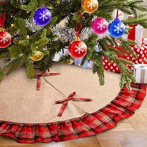 Aytai 48inch Plaid Christmas Tree Skirts Red and Black Ruffle Edge Linen Burlap Tree Skirt for Holiday Christmas Decorations