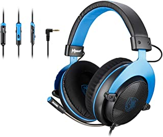 [Upgraded Version]SADES MPOWER 3.5mm Gaming Headset, Over-Ear Headphones With Retractable Mic, Noise Cancelling, Soft Memo...