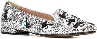 Poppy Glitter Flats (35) Silver