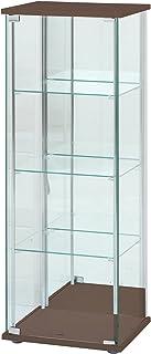 不二貿易 ガラスコレクションケース 4段ロータイプ 幅42.5・高さ120cm 背面ミラー付き ブラウン