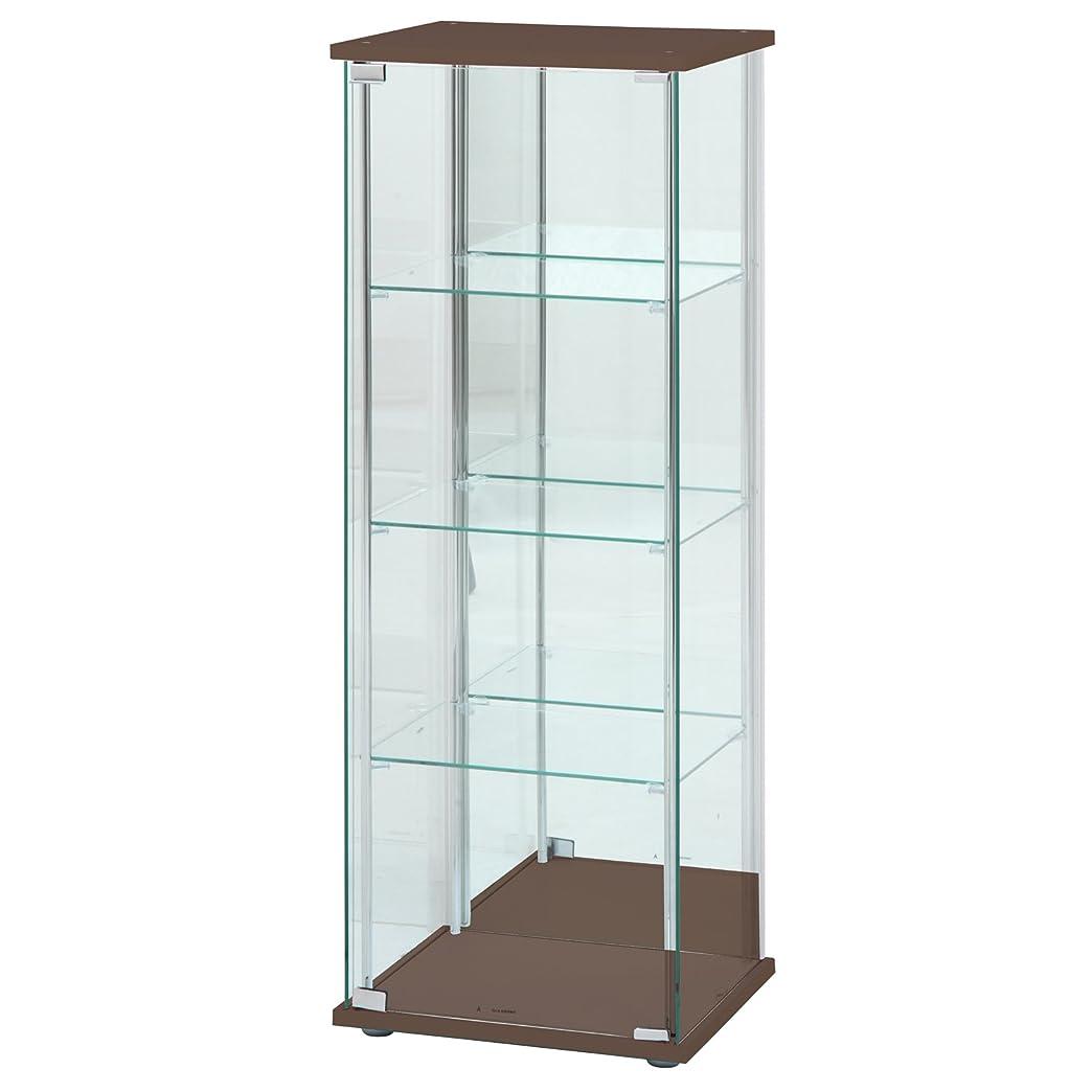 ご予約正確さ洞察力のある不二貿易 ガラスコレクションケース 4段ロータイプ 幅42.5?高さ120cm 背面ミラー付き ブラウン