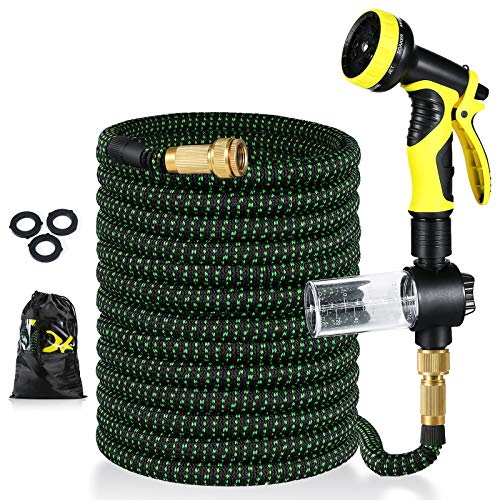 Pimpimsky Garden Hose Expandable 50 feet, Flexible Water Hose with Solid Brass Fittings, Durable Triple Latex Core 9-Pattern Spray Nozzle Stretch Hose Pipe for Garden Lawn Pet Shower Plant Car