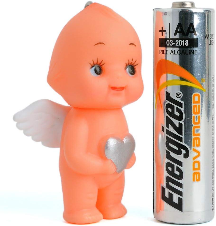 Kewpie Rubber Baby Doll Angel Wings Heart Pendant Key Chain Charm Mini Key Ring White