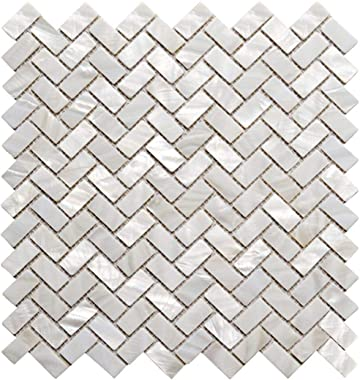 AFSJ Genuine White Herringbone Mother of Pearl Mosaic Tile 12 Packs-Bathroom Kitchen Shower Wall Backspalsh Tile
