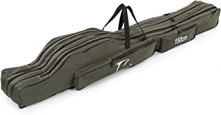 Docooler Folding Fishing Rod Case Canvas Fishing Pole Tools Storage Bag Fishing Gear Tackle 2 Layer/ 3 Layer,120cm/130cm/150cm