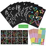Papel Adhesivo de Puntos Pegatinas para Niños, 10 Patrones Dotty Sticker Paper Creación de Álbumes de Recortes Arte Dot con Las Representaciones
