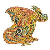 GUO Puzzle De Madera Animales Piezas De Rompecabezas De Formas Única El Dragón Juguete Educativo De Descompresión Mejor Regalo,M:26 * 28.6cm