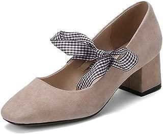 BalaMasa Womens Checkered Charms Solid Urethane Pumps Shoes APL11039