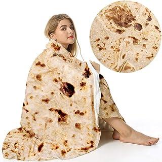 Admitrack Tortilla Wrap Blanket,Burritos Round Wrap Blanket,Tortilla Throw Blanket,Funny Realistic Food Round Blanket,Nove...
