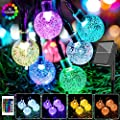 16 Colors Globe Solar String Lights, 33ft 60 Crystal Balls Outdoor String Lights Solar Powered Waterproof Patio Lights with Remote Decorative Lights for Garden Gazebo Yard Party Christmas Tree Decor