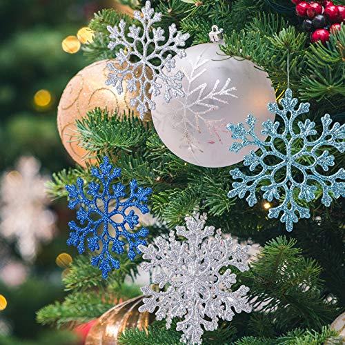 Naler 24 Pezzi di Fiocchi di Neve per Natale Decoratici Fiocchi di Neve con Glitter Addobbi per Albero di Natale Decorazione per Festa di Natale, Bianco, Argento, Blu, Blu Reale