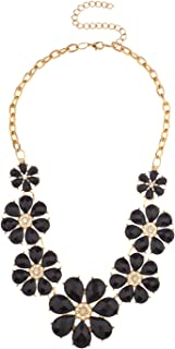 Goldtone Flowers Bib Statement Chain Necklace