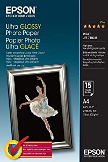 Epson Ultra Glossy Photo Paper - Papel fotográfico brillante, A4, 15 hojas