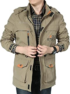 XINHEO Men Casual Loose Multi-Pockets Stand Collar Parka Jacket