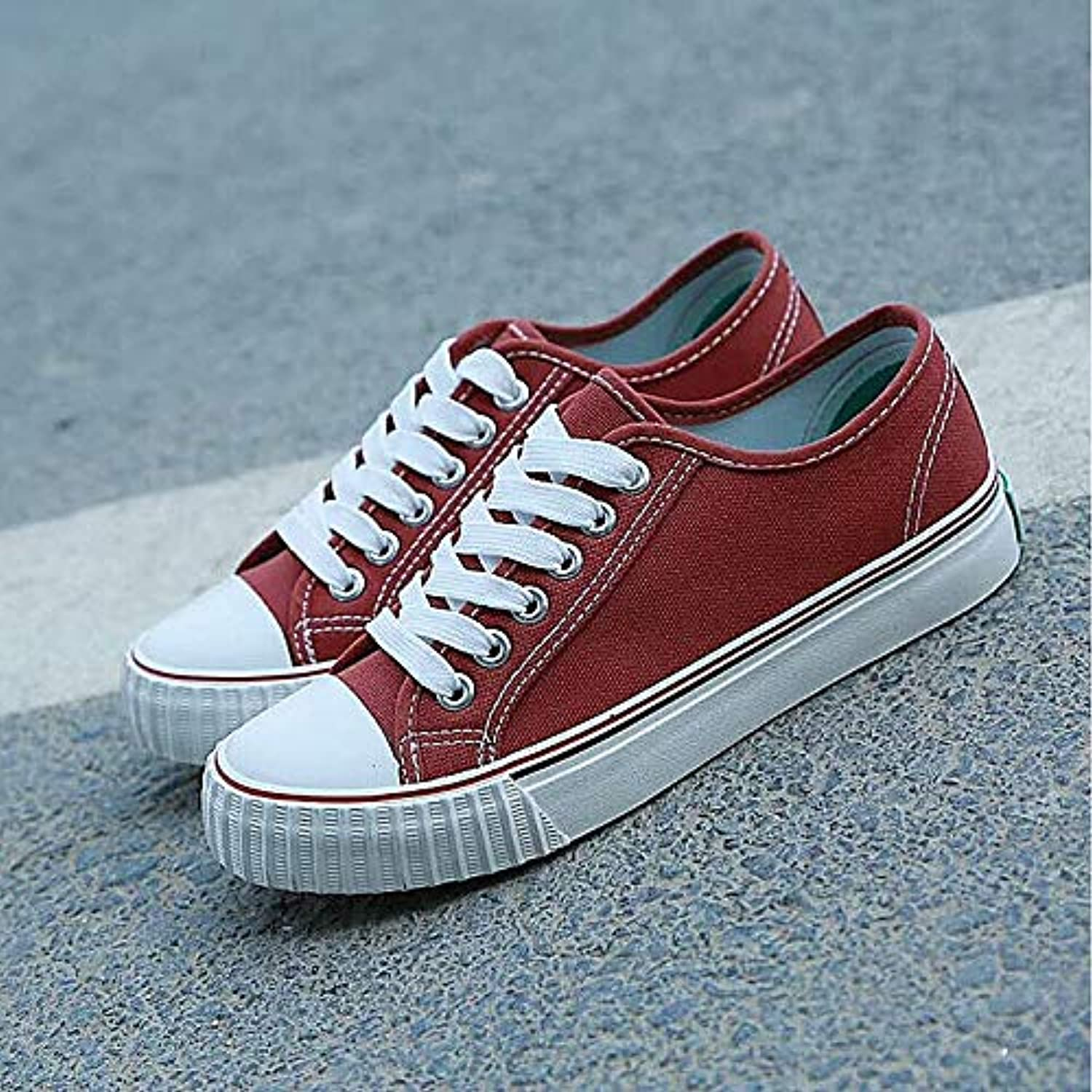 Women's shoes Canvas Fall Comfort Sneakers Flat Heel Red Green   Pink