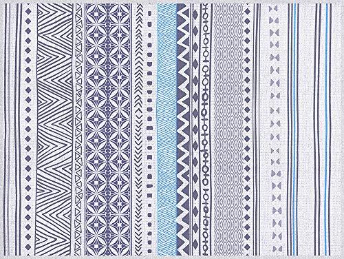 VINILIKO Tribal Azul Alfombra de Vinilo, Multicolor, 100x133