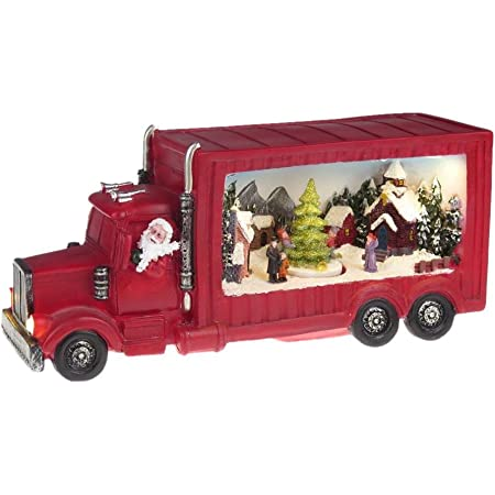 Lightahead Musical Santa Driving Pickup Truck Figurine with Christmas Scene LED Lights and 8 Melodies Turning Skaters