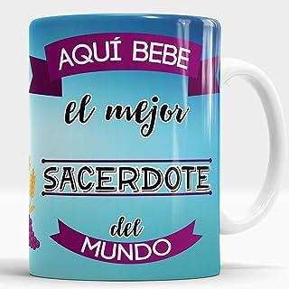 Taza Aquí Bebe el Mejor Sacerdote del Mundo/Taza aqui Bebe un Super Sacerdote/Taza Regalo Original para Sacerdote (Sacerdote)