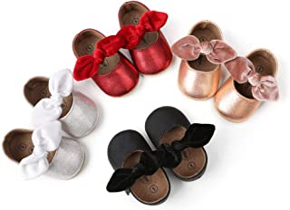 Baby Girls Dress Shoes Princess Leather Non Slip Flats Rubber Soft Sole Crib Shoes