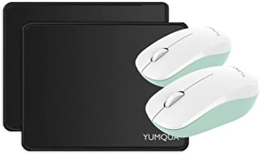YUMQUA SB226-W Computer Wireless Silent Mouse Bundle with Mouse Pad - 2 Pack Set