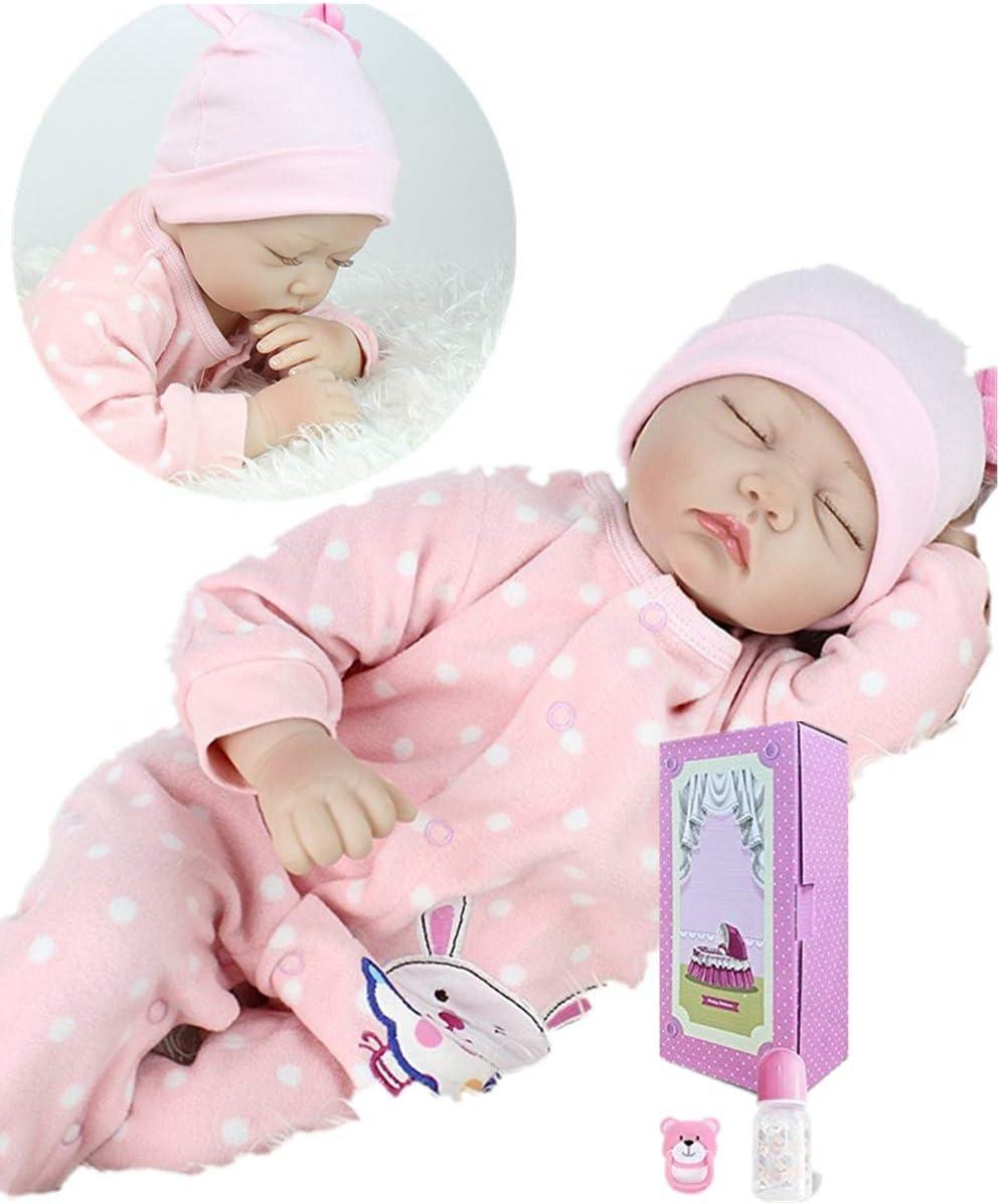 "22/"" Silicone Vinyl Reborn Baby Dolls Newborn Toddler Sleeping Girl Doll Toys"