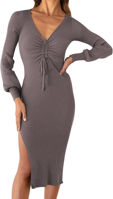 Meenew Women's Long Sleeve Bodycon Dress Drawstring V Neck Slit Midi Knit Dress