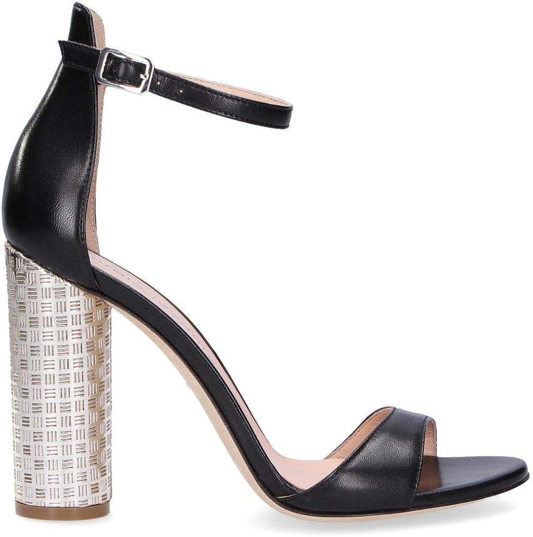 SERGIO SERGIO SERGIO LEVANTESI Kvinnliga ROBYBLEKT svarta lädersandaler  100% autentisk