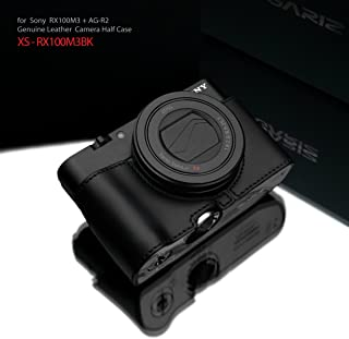 Gariz Genuine Leather XS-CHRX100M3BK Camera Metal Half Case for Sony RX100III RX100M3 with AG-R2 Black