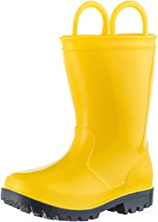 ALLENSKY Kids Rain Boots with Easy-on Handles for Little Kids & Toddler Boys and Girls Waterproof Rain Boots