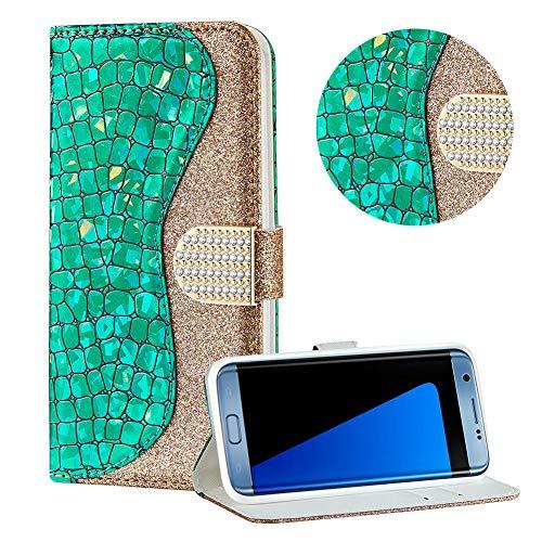 Diamant Brieftasche Hülle für Galaxy S7 Edge,Grün Wallet Handyhülle für Galaxy S7 Edge,Moiky Ultra Dünn Stilvoll Laser Glitzer Farbe Block Klappbar Stand Silikon Handytasche