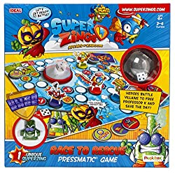 Heroes battle villians to free Professor K and save the day! Take turns to pop the die and race around the board collecting battle tokens. The first player to obtain a complete set frees Professor K and wins the game. Includes 1 unique SuperZing 2-4 ...