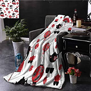 Fur Throw Blanket Geisha Japanese Fan Ancient Chinese Traditional Tea Pot Lanterns Floral Graphic Desi Cozy and Durable Fabric-Machine Washable 30