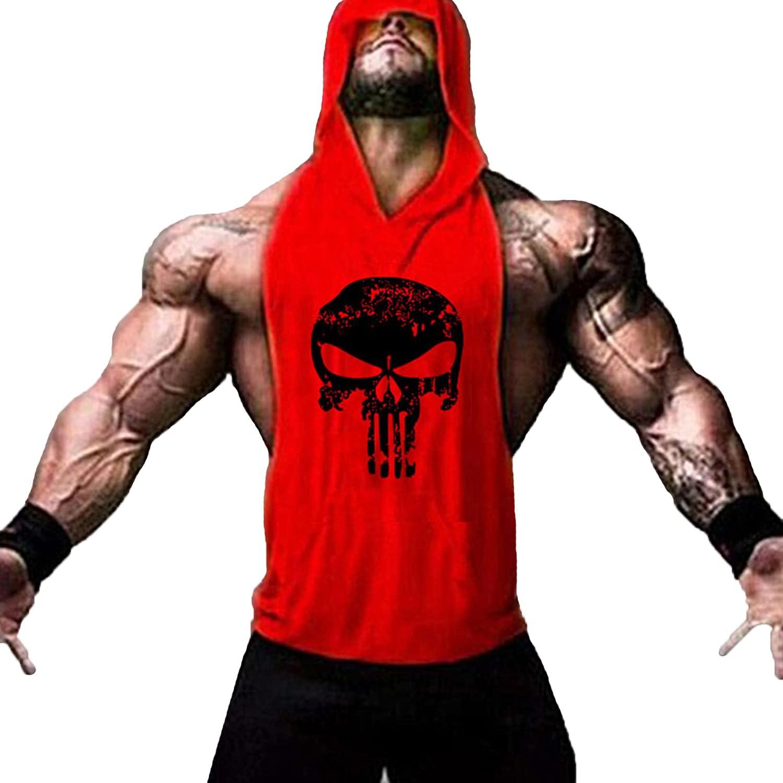 Men's Soldering Skull Print Sleeveless Fitness Vest Strin Bodybuilding Gym Topics on TV