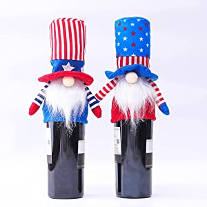 Chris.W 2Pcs Independence Day Gnome Wine Bottle Covers Decorations, Patriotic Gnome Wine Bottle Toppers, Tall Hat Plush Elf Ornament for 4 of July American Independent Day Decorations Table Decor