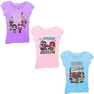 L.O.L. Surprise! Girls' Big LOL Surprise 3-Pack Short Sleeve T-Shirt Bundle, Light Pink/cancun/Purple Berry, S-7