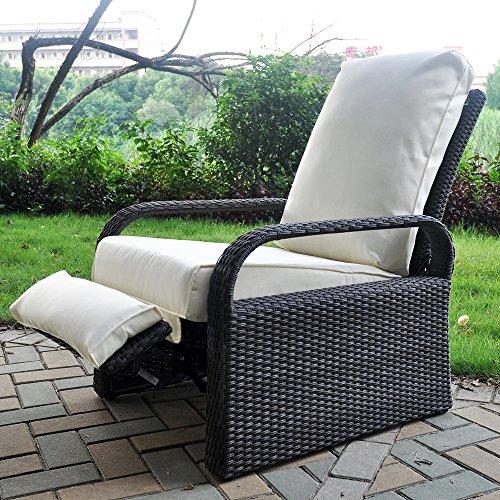 Silla reclinable de mimbre de resina para exteriores con cojines, muebles de patio, sofá de ratán ajustable automático, resistente a los rayos UV, a la decoloración, al agua