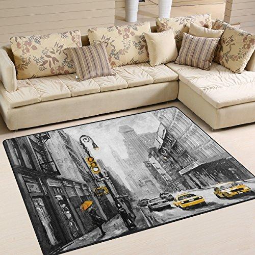 Naanle Teppich für Wohnzimmer, Esszimmer, Schlafzimmer, Küche, 50 x 80 cm, Motiv: Ölgemälde New York Street, rutschfester Vorleger/Teppich/Yogamatte, Polyester, multi, 150 x 200 cm(5' x 7')