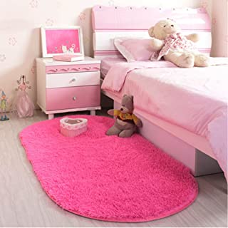 LOCHAS Ultra Soft Girls Room Mat Morden Shaggy Area Rug Living Room Carpet Bedroom Rugs for Children Play Solid Home Decor, 2.6 Feet x 5.2 Feet (Hot Pink)