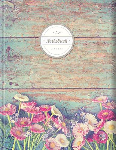 """Liniertes Notizbuch (©Star, A4, 156 Seiten, Softcover)    Mit Register + Doppelrand + Lineatur 27    Dickes Notizheft, Fester Einband, Deutschheft, Schreibheft, Schulheft, Tagebuch, """"Vintage Flowers"""""""