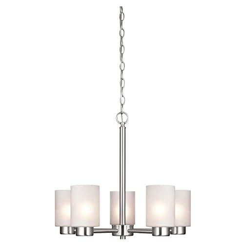 Westinghouse Lighting 6227400 Sylvestre Five-Light Interior Chandelier, Brushed Nickel Finish with Frosted Seeded Glass, 5