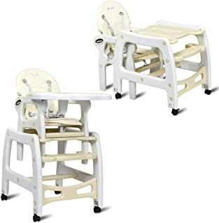 INFANS 3 in 1 Baby High Chair, Convertible Toddler Table Chair Set, Rocking Chair, Multi-Function Seat with Lockable Universal Wheels, Adjustable Seat Back, Removable Trays, 6 Months & up, Beige