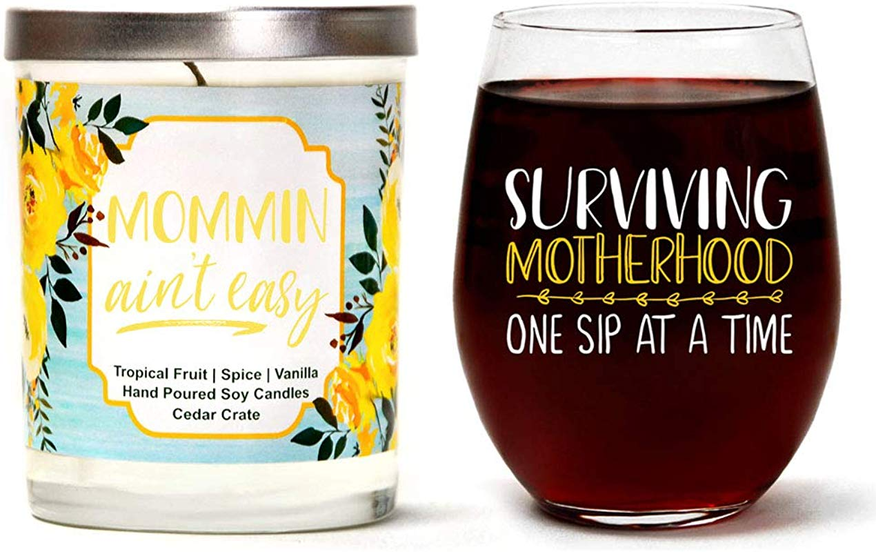 Surviving Motherhood One Sip At A Time Mother S Gift Set Cute Stemless 15 Oz Wine Glass Mommin Ain T Easy Luxury Scented 10 Oz Soy Candle Tropical Fruit Spice Vanilla Best Mom Gift