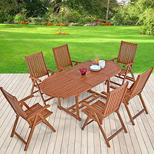 Casaria Sitzgruppe Vanamo 6+1 FSC®-zertifiziertes Eukalyptusholz klappbar 7-TLG Tisch Sitzgarnitur Holz Gartenmöbel Garten Set - 2