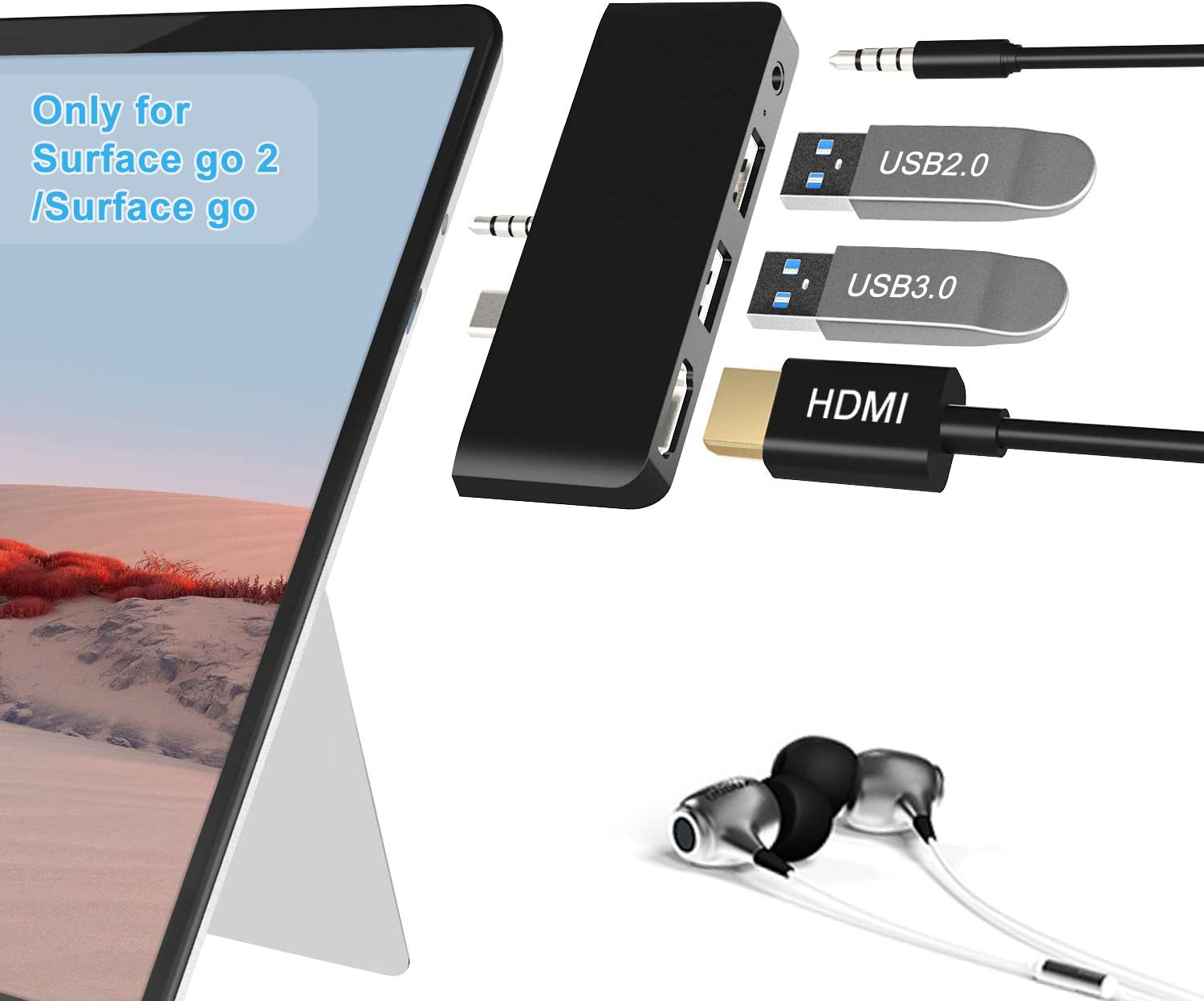 Cateck Surface Go Docking Station, 4 in 1 Surface Go 2 USB C Adapter with HDMI Support 4K, USB 3.0/2.0 Port Hub, 3.5mm Audio/Headphone Jack, Portable Adapter for Surface Go/Go 2 Accessories