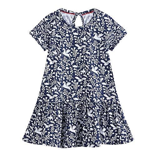 GJHT Abito in Cotone per Bambini Bambina Modello della Stampa del Vestito dalla Gonna della Manica Corta Camicia Il Tessuto è Morbido E Confortevole (Color : Navy Blue, Size : 7 Years)