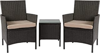 Aoxun Patio Bistro Set 3-Piece Outdoor Rattan Patio Furniture, Outdoor Bistro Set Wicker Patio Furniture with Coffee Table...